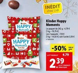 Kinder happy moments offre à 2,39€