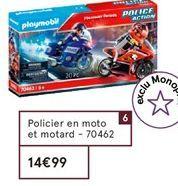 Policier en moto et motard Playmobil offre à 14,99€