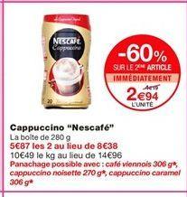 """Capuccino """"Nescafe"""" offre à 4,19€"""