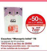 """Couches """"Monoprix"""" bebe T5 offre à 10,49€"""