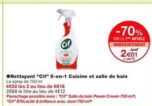 """Nettoyants """"Cif"""" 5-en-1 Cuisine et salle de bain offre à 3,09€"""