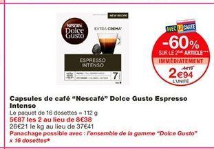"Capsules de café ""Nescafe-2 Dolce gusto Espresso Intenso offre à 4,19€"