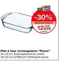 """Plat a four rectangulaire """"Pyrex"""" offre à 12,59€"""
