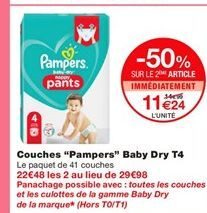 """Couches """"Pampers"""" Baby Dry T4 offre à 14,99€"""