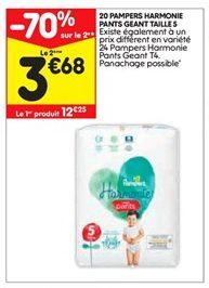 20 Pampers harmonie pants geant taille S offre à 12,25€