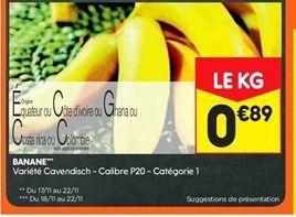 Banane offre à 0,89€