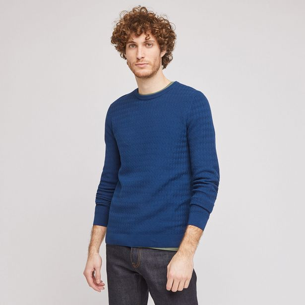"""Pull col rond maille fantaisie """"in progress"""" offre à 15€"""