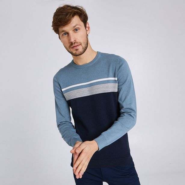 Pull col rond rayé maille fantaisie offre à 15€
