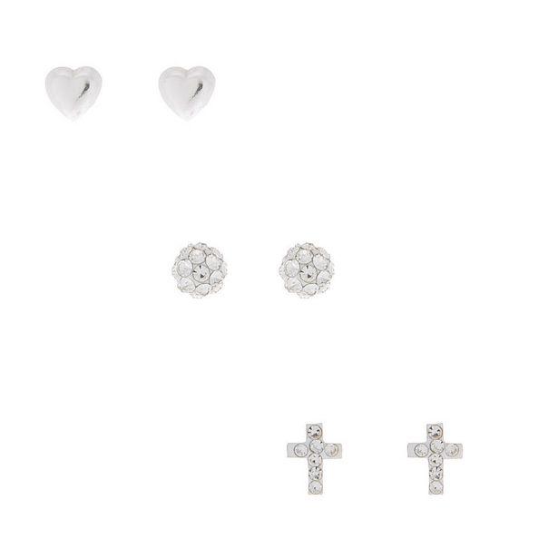 Lot de 3 boucles d'oreilles en argent avec cœur de boule de feu offre à 10€