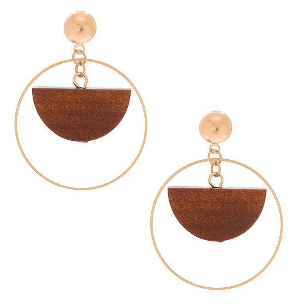 Pendantes demi-lune en bois d'imitation 3,8cm couleur doré offre à 3€