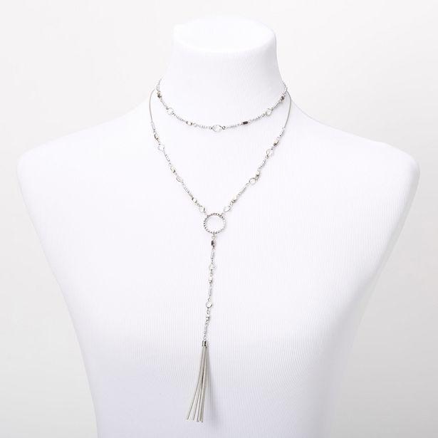 Collier multi-rangs avec pompons en imitation daim perlé couleur argentée offre à 5€