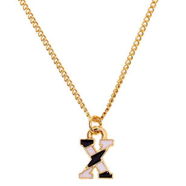 Collier à pendentif initiale à rayures couleur dorée - X offre à 2€