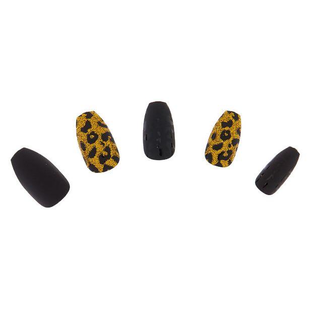 Lot de 24faux ongles à motif léopard mat et paillettes dorées offre à 3€