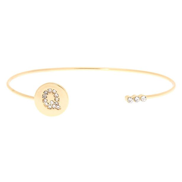 Bracelet manchette à initiale couleur dorée - Q offre à 2€
