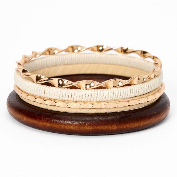Bracelets fins bangle en bois d'imitation tressé couleur dorée - Marron, lot de 4 offre à 5€