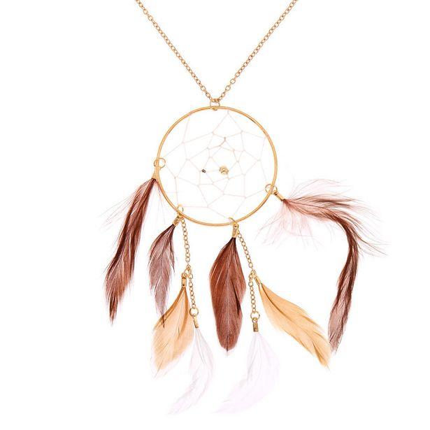 Long collier à pendentif attrape-rêves couleur dorée - Marron offre à 5€