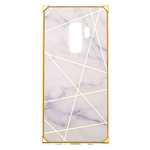 Coque de portable carrée géométrique effet marbré blanche et couleur dorée - Compatible avec Samsung GalaxyS9Plus offre à 3€