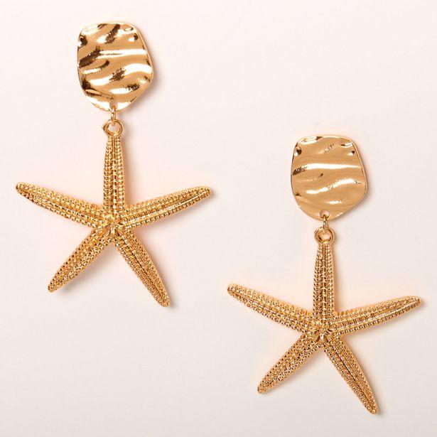 Pendantes avec grande étoile de mer 5cm couleur dorée offre à 4€
