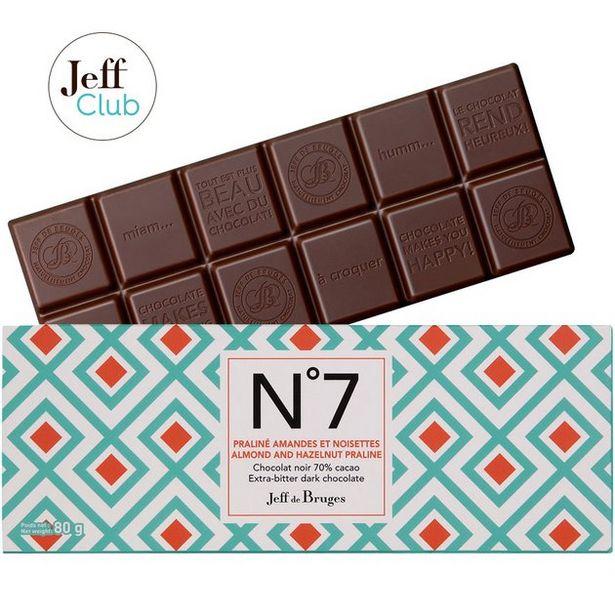 Tablette N°7 Chocolat noir 70%, praliné amandes et noisettes offre à 3,9€