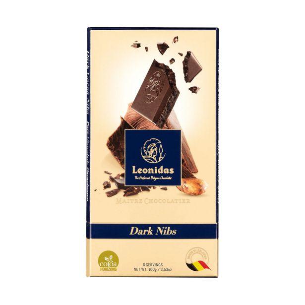Leonidas Tablette Chocolat Noir Nibs, 5 x 100g offre à 17€