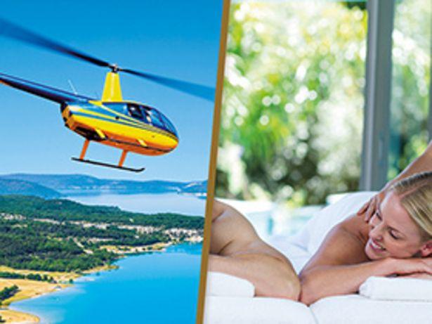 Vol en hélicoptère et massage avec détente au spa pour un duo offre à 639,84€
