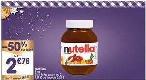 Pâtes à tartiner Nutella offre à 4,16€