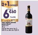 Vin rouge offre à 6,6€