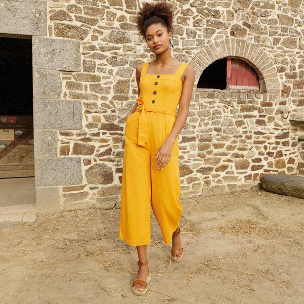 Combinaison pantalon ceinturé jaune foncé femme offre à 36,79€