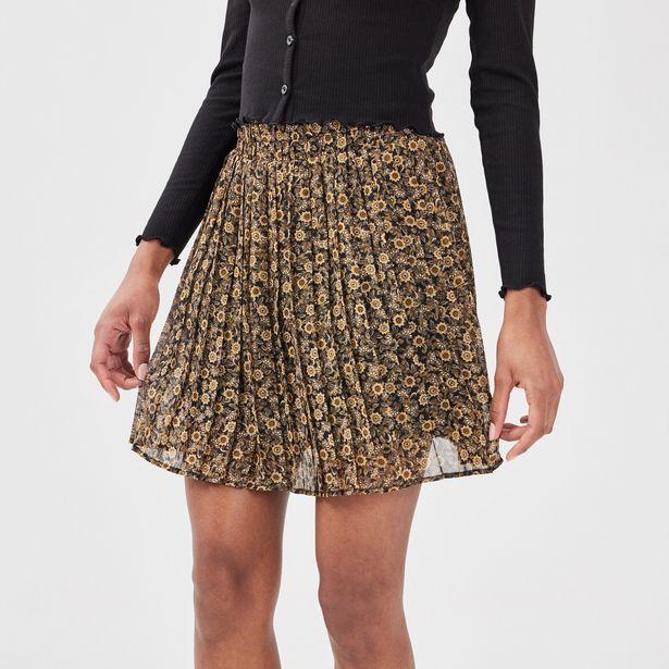 Jupe évasée plissée noir femme offre à 10,39€
