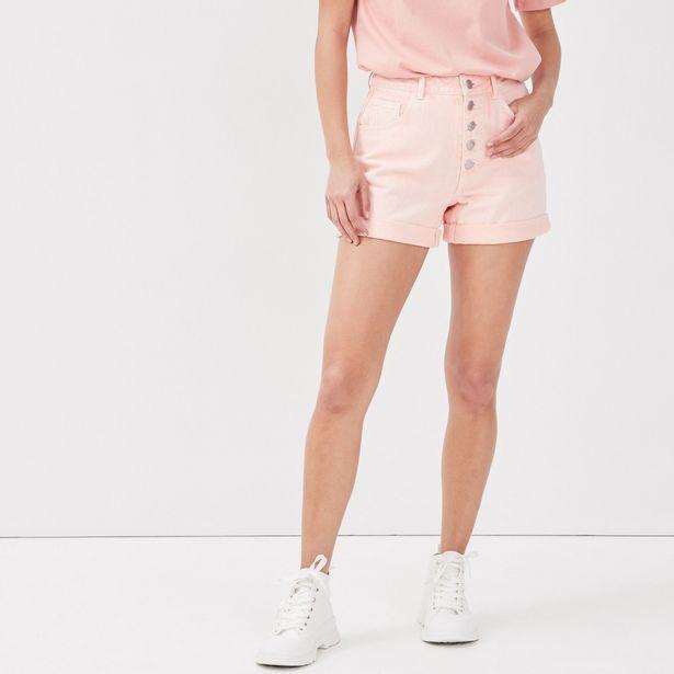 Short ample boutonné en jean orange femme offre à 12,99€