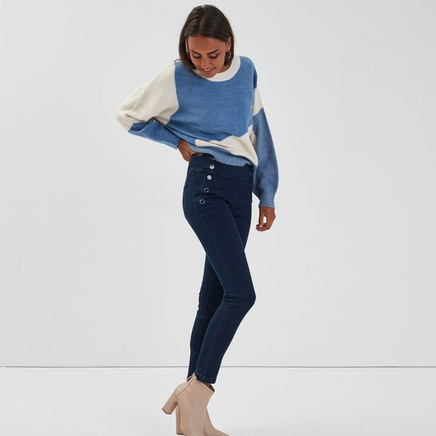 Jeans skinny taille haute à pont denim brut femme offre à 17,99€