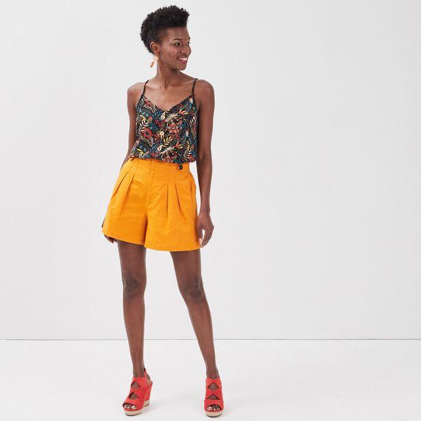 Short ample avec pinces jaune foncé femme offre à 20,99€