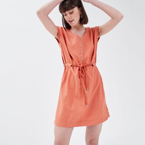 Robe droite lin terracotta femme offre à 23,99€