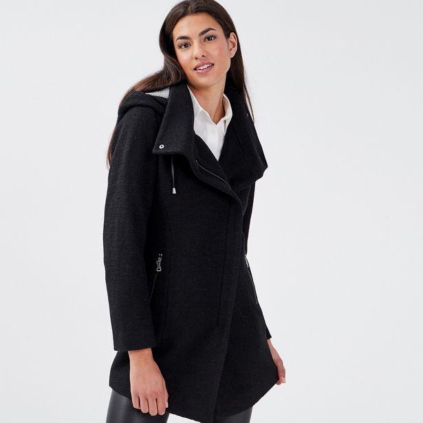 Manteau cintré asymétrique noir femme offre à 69,99€