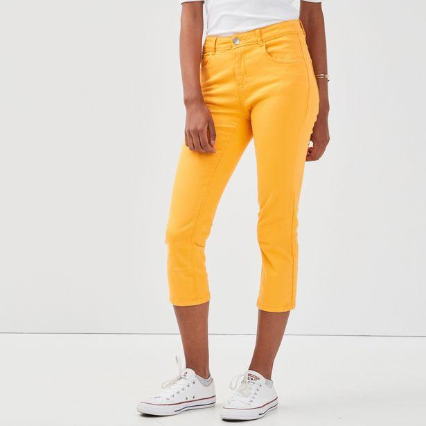 Pantacourt slim basique uni orange clair femme offre à 15,99€