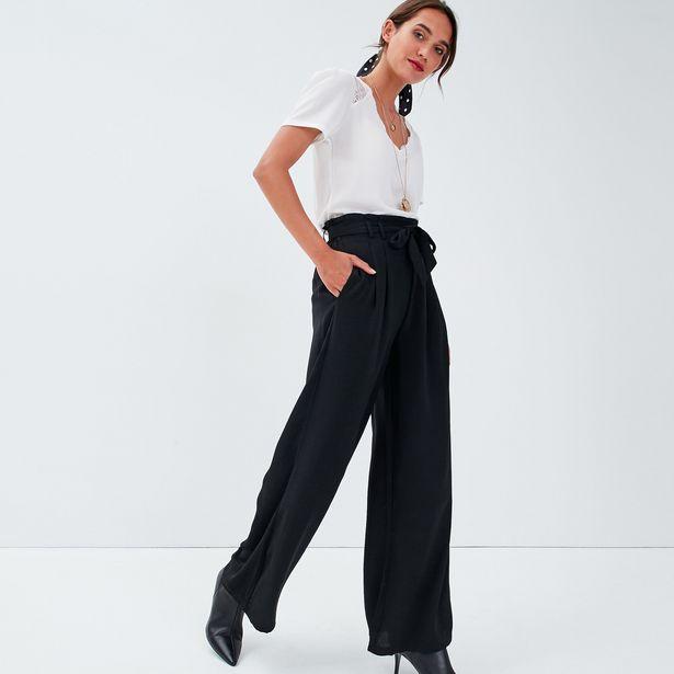 Pantalon large fluide noir femme offre à 23,99€