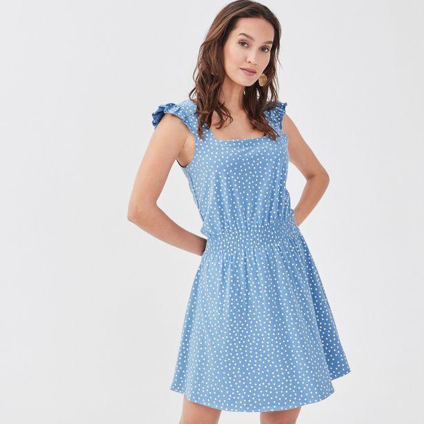 Robe évasée encolure carrée bleu clair femme offre à 13,99€
