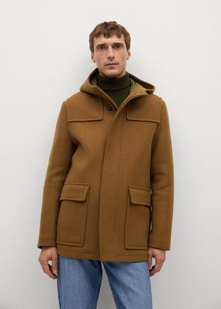 Manteau trois-quarts laine capuche offre à 119,99€
