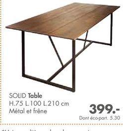 SOLID table offre à 399€