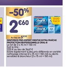 Dentifrice Pro-Expert menthe extra fraiche protection professionnelle Oral-B offre à 2,6€