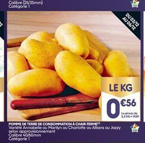 Pommes de terre de consomation à chair ferme offre à 0,56€
