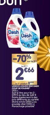Lessive liquide 2en1 Dash coup de foundre offre à 8,85€