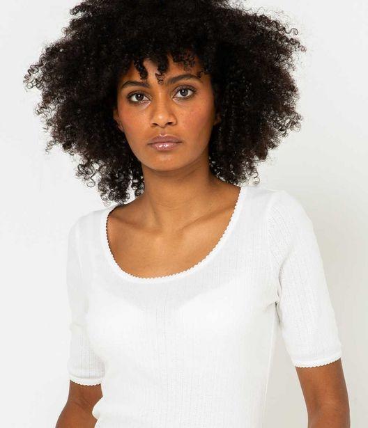 T-shirt maille pointelle femme coton bio offre à 5€