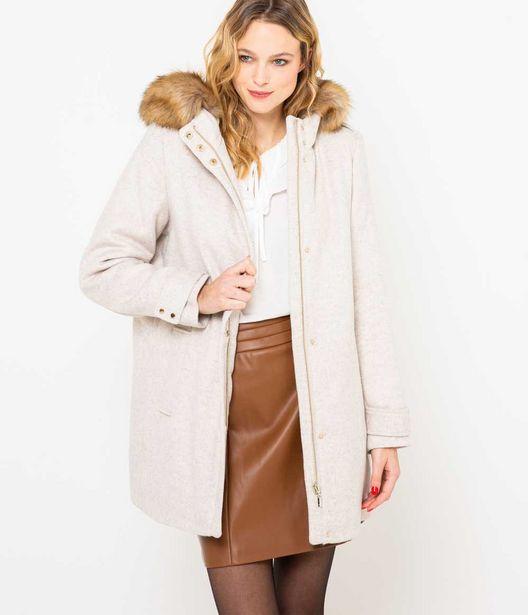 Manteau femme laine et fausse fourrure offre à 89,99€