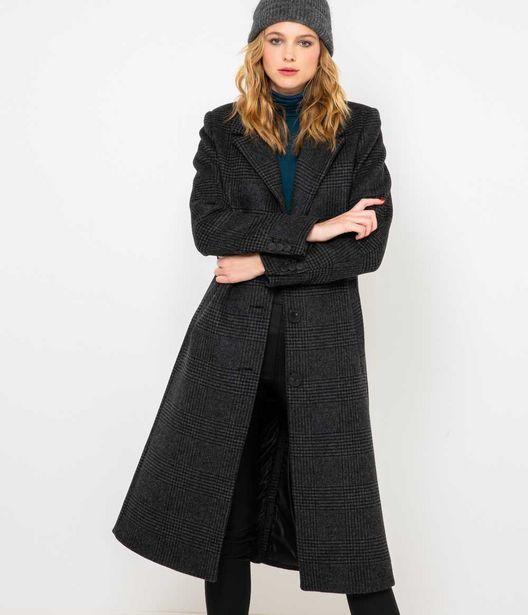 Long manteau femme gris à carreaux offre à 129,99€