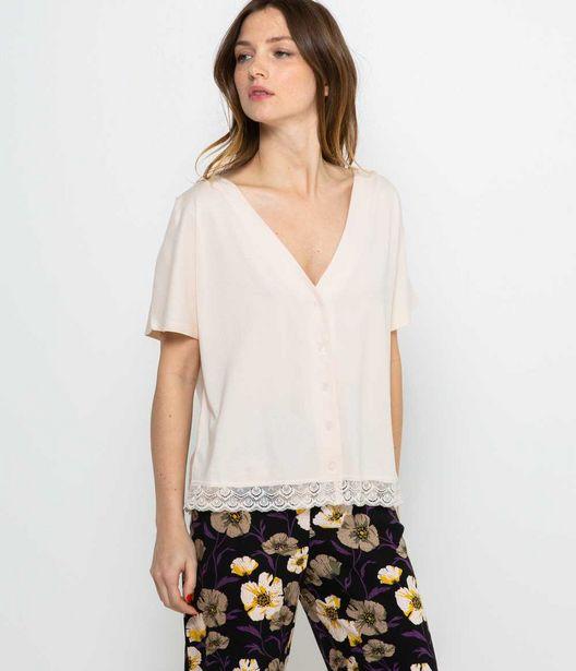 T-shirt boutonné homewear femme offre à 7,99€