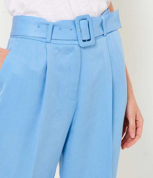 Pantalon bleu carotte femme offre à 12€
