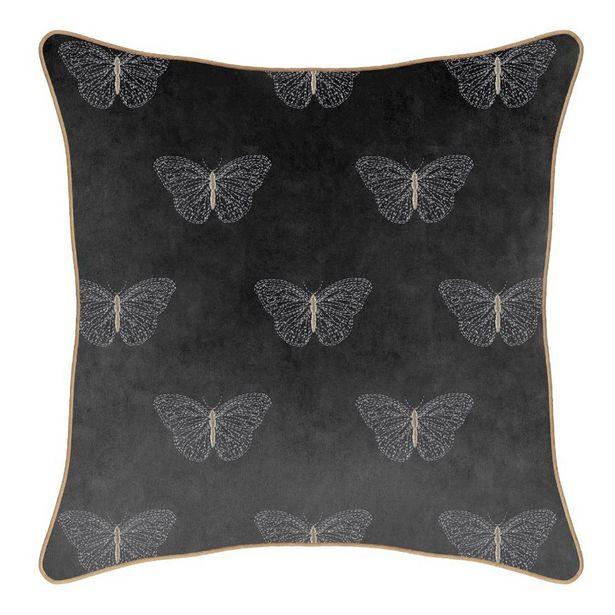 Coussin 48x48cm brode papillon offre à 9,99€