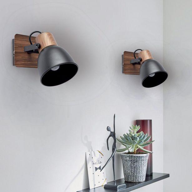 Spot, industriel, métal noir et décor bois, SEYNAVE Clyde... offre à 24,9€