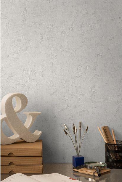 Papier peint vinyle sur intissé Patine blanc de blanc offre à 10,9€